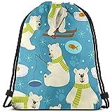TIMOCHA Bolsas de cuerdas Tote School Rucksack,Unisex Bolsa de Gimnasio Ligera,Drawstring Backpack,Polar Bear ,Travel String Pull Bag,Sport Cinch Pack