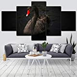 TXCY 5 Cuadro en Lienzo Caligrafía Wall Art Work Scenery Picture 5 Set Canvas Poster Animal Swan River Kids Room Home Decor Print Painting