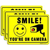DOCHO Smile You are on Camera Video Surveillance Sign, 3 Pack 10'x 7' Rust Free .04' Aluminum Warning Signs, UV Protected, Reflective & Waterproof, Indoor or Outdoor Use for CCTV Security Camera