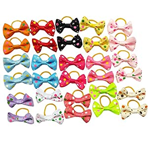 Chenkou Craft 30pcs (15pairs) New Dog Hair Bow with Rubber Dot Grosgrain Ribbon Pet Grooming Products Mix Colors Varies Patterns Pet Hair Bows (Dot Ribbon Rubber Bow)