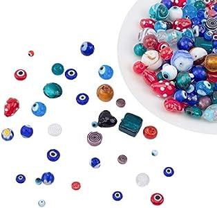 NBEADS Cuentas de Mal de Ojo Mixtas aleatorias, 130g Cuentas de joyería de Murano Hechas a Mano para Hacer Collares con aretes de Bricolaje, Agujero: 1-2 mm