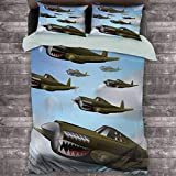 Toopeek Airplane Hotel Luxury Bed Linen Fighter Aircraft Up in Air Flight Machinery Wings Ilustración Tecnología Poliéster - Suave y Transpirable (King) Azul Verde Gris
