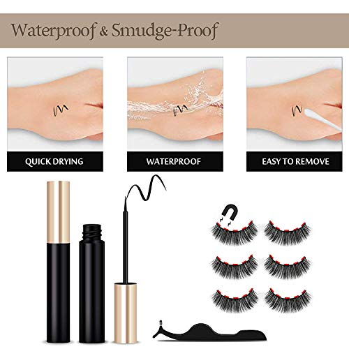 Magnetic Eyelashes Kit Magnetic Eyeliner With Magnetic Eyelashes Magnetic Lashliner For Use with Magnetic False Lashes Natural Look-No Glue Needed (5-Pairs)