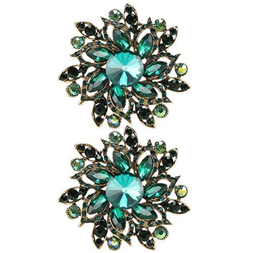 Asixxsix Broche de Solapa, Broche de Flores, Combinado con Colores agradables y Brillo para Regalos caseros(Green)