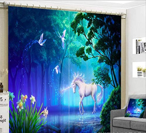 "xszhqxxla Dormitorio 3D Cortina, Dibujos Animados Cortinas de Unicornio apagón 3D, Sala de Estar vivero Animal Paisaje Decorativo Cortina 66"" W x 72"" H (168cm x 183cm)"