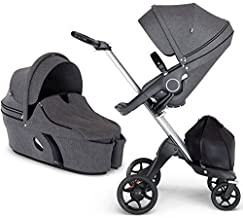 Stokke Xplory V6 Silver Chassis Stroller with Black Leatherette Handle, Black Melange with Carry Cot