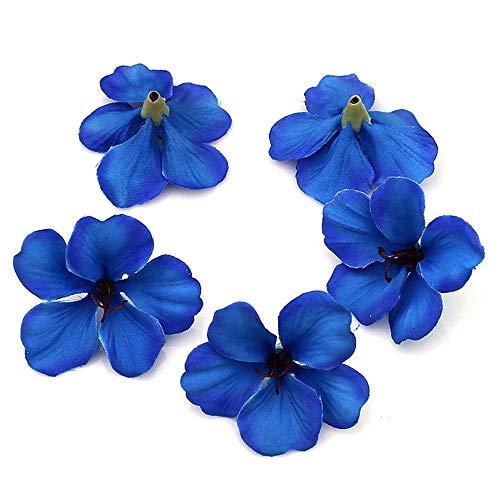 YUDX121 100pcs/lot Spring Silk Orchid Artificial Flower Heads Gladiolus Cymbidium Flowers for Wedding Decoration (Royal Blue)