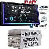 Mercedes SLK R171 inkl. Lenkrad- und CanBus Adapter - Autoradio Radio JVC KW-R930BT - CD Bluetooth Android Apple MP3 USB - Einbauzubehör - Einbauset