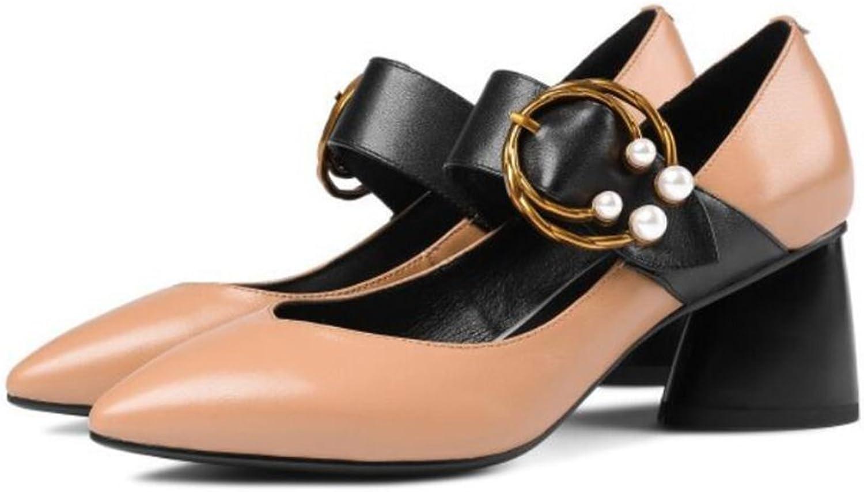 RENJUN Einzelne Schuhe des Frühlinges Neue Wortschnalle weibliches Dickes mit spitzem Kopf mit wildem koreanischem Leder der flachen Schuhe des Absatzes der flachen Ferse 34-39 Yards Fersen