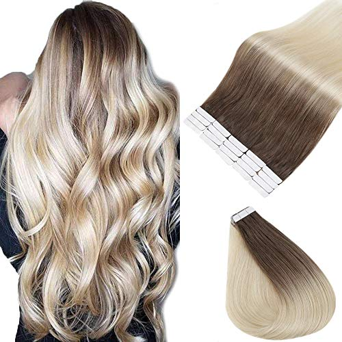 Full Shine Extensions Echthaar Blond Ombre Kleber Haare Tape on Extensions 22Zoll 20Stuck 50g Haarfarbe 6B/613 Kastanienbraune Mischung mit Gelbblond Tape on Hair