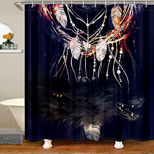 richhome Wolf - Cortina de ducha para adolescentes y adultos, diseño de plumas de pájaro, cortina de baño impermeable, 12 ganchos para bañera, 72 W x 72 L