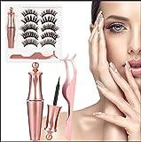 2020 Upgraded False Eyelashes Kit and Magnetic Eyeliner Set, Lawimpe Mixed 6D Reusable Magnetic Eyelashes With Tweezers (5 Pairs)