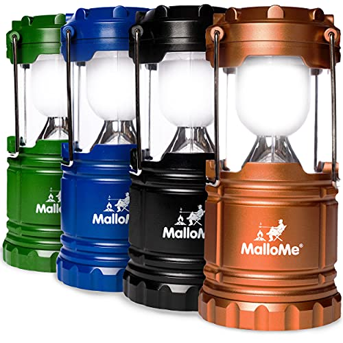 MalloMe LEDs Camping Lantern Flashlights 4 Pack - Super Bright -...