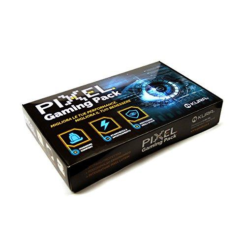 Pixel Gaming Pack, Soluzione per Il Gamer: Minor Stanchezza e Affaticamento, Protezione Occhi Grazie a Occhiali con Filtro Luce Blu e Raggi UV, Poggiapolso Ergonomico, Integratore Occhi. novità!!