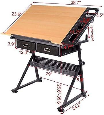 FOBUY verstellbar neigbar Tischplatte Zeichentisch Home Office Langlebig Home Schreibtisch