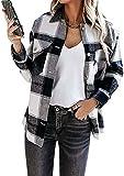 OMZIN Damen Kariertes Jacke Taschen Knöpfen Langarm Oversize Bluse Hemdjacke Holzfällerjacke Mit Brusttaschen Mode Schwarz XXS