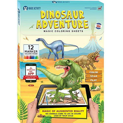 Dinosaur Adventure Augmented Reality Coloring Book w/ Educational Learning Activities for Kids Ages 4-8 - Bring Dinosaurs to Life (12 Washable Markers & App Included)