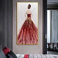 キャンバス絵画カラフルな金の女性のポスタープリント壁アート写真リビングルームの家の入り口の装飾のための肖像画アート80x160cmフレームレス