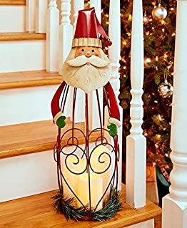 Triple LED Candle Holiday Lantern - Santa