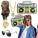 Kit de disfraz de Hip Hop de los años 80 de los 90 con peluca de salmonete marrón con espejo de piloto de gafas inflables Boom Box de oro, anillo de oro novedad de los años 80 y 90 Rapero Accesorios