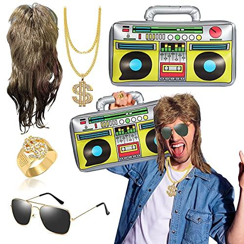 BIQIQI Fasching Karneval Kostüm 5 in 1 Vokuhila Set mit Vokuhila Perücke Aufblasbare Radio Boombox Sonnenbrille Goldkette Ring Gold Dollar 80er 90er Party Accessoires Rapper Zubehör Hip Hop Kostüm