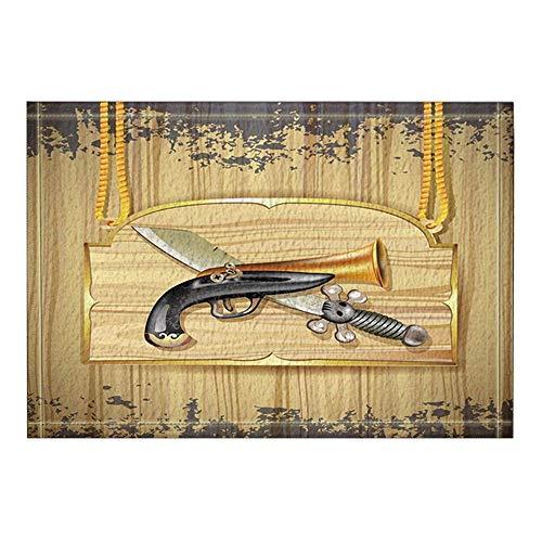 LRSJD Decoratie piraat messen trompet gebogen op tafels vintage badmat antislip deurmat ingang deurmat vooraan binnen buiten mat 15,7 x 23,6 in