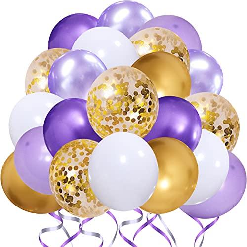 KALYERPARTY 자주색 금 색종이 라텍스 풍선-50 개 12 인치 골드 색종이 풍선과 백색선을 위한 결혼 생일 샤워 아기를 축하 파티를 장식