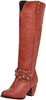 ELEEMEE Women Western Boots Pull On Knee High Boots