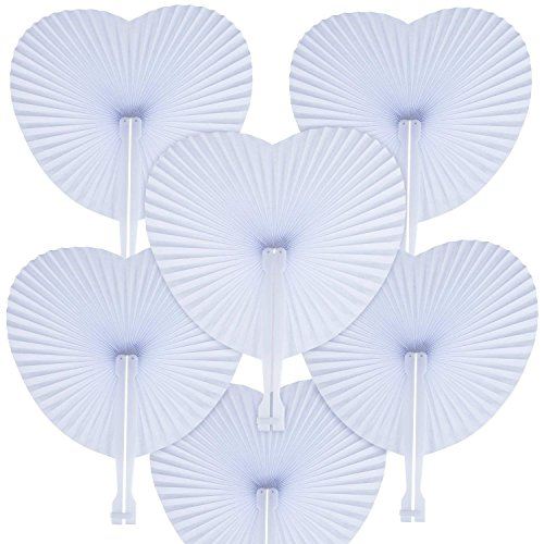 Mejor WOWOSS 60 Packs Folding Fans Paper Fans Heart Shaped Assortment with Plastic Handle for Wedding Favor Party Bag Filler crítica 2020
