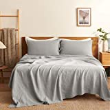Bedsure 100% Linen Bed Sheets Set for Queen Bed, Deep Pocket Queen Size Bed, Stone Washed French Linen Sheets (Queen/Full, 90'x102', Grey)