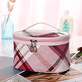 A Cuadros Dama Bolsa de cosméticos Bolsa de Almacenamiento Bolso de Viaje Bolso portátil 12 * 21 * 16 cm Fucsia