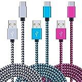 Ailkin Lot de 3 câbles USB C en nylon tressé de type C pour Samsung Galaxy S20 S10 S9 S8 Plus Note...
