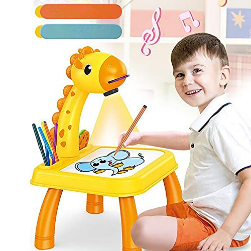 JinGoldBell Drawing Projector Table for Kids 6-8 Ages Childrens Projector Painting Board Set for Tracing, Children's Trace and Draw Projector Toy with Light Music for Early Learning Art (01 Giraffe)