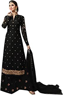Black Ethnic Party wear Satin Georgette Salwar Kameez Palazzo Suit Indian Muslim Women Semi-stitched dress 7827