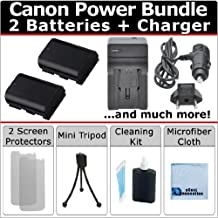 eCostConnection Power Bundle: 2 LP-E6 / LP-E6N Batteries + AC/DC Turbo Charger w/Travel Adapter + Complete Deluxe Starter Kit for Canon EOS 5D Mark III 6D 7D 60D 70D, 7D Mark II &More Models