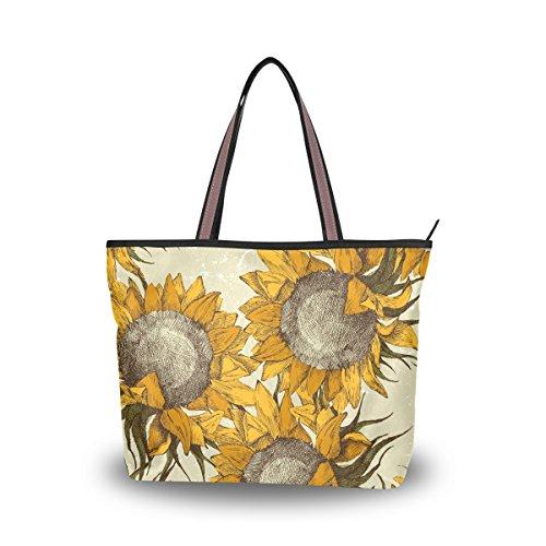 JSTEL Women Large Tote Top Handle Shoulder Bags Vintage Ornament With Sunflowers Patern Ladies Handbag