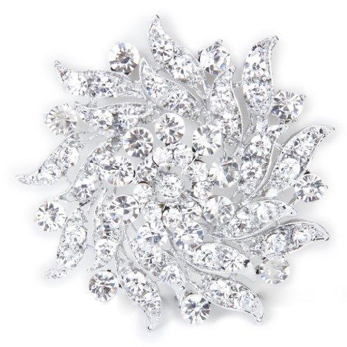 Fiore Di Cristallo Strass Nuziale Bouquet Di Nozze Pin Spilla In Argento