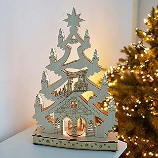 Holz Deko LeuchteFrohe Weihnachten 10 LED 45x30 cm