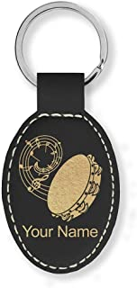 Oval Keychain, Tambourine, Personalized Engraving Included (Black with Gold)