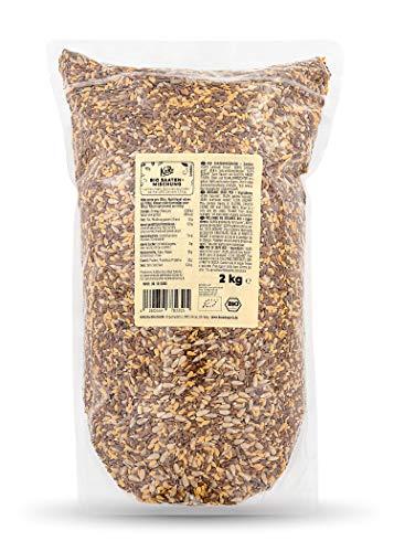 KoRo – Bio Saatenmischung 2 kg – Proteinreiches Topping für Salate und Suppen – Zum Backen von Brot und Crackern – Auch für Vögel, Hunde und Pferde geeignet – Ballaststoffreich