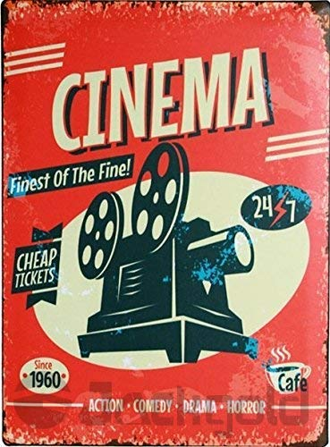 Cinema Media Room Decor Blechschilder Theater Schild – Film Room Decor Zubehör – Film Decor – Home Movie Theater Decor – Film Reel Wall Decor – Vintage Movie Decor 30,5 x 20,3 cm Aluminium Plate