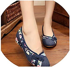 Spring Women Shoes Retro Flats Chinese Flower Embroidery Canvas Linen Shoes