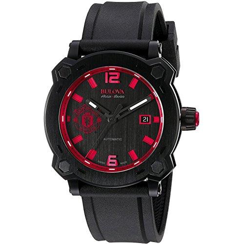 Bulova Accu Swiss Manchester United65B165 orologio automatico da uomo, quadrante nero, display analogico e cinturino in silicone nero