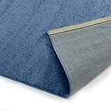Designer-Teppich Pastell Kollektion | Flauschige Flachflor Teppiche fürs Wohnzimmer, Esszimmer, Schlafzimmer oder Kinderzimmer | Einfarbig, Schadstoffgeprüft (Royal Blau, 120 cm rund)