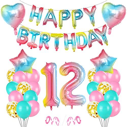 O-Kinee Luftballon 12. Geburtstag Rosa, Geburtstagsdeko 12 Jahr, Ballon 12. Geburtstag, Riesen Folienballon Zahl 12, Happy Birthday Folienballon 12, Ballon 12 Deko zum...