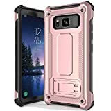 anccer Armor Series for Samsung Galaxy S8 Active Case with Kickstand Anti Shock Dual Layer Anti Fingerprint Protective Cover for Galaxy S8 Active (Not Fit for Galaxy S8) - Rose Gold