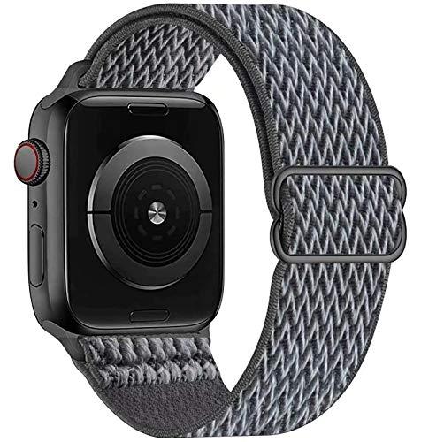 GBPOOT Compatibile con Cinturino Nylon solo loop per Apple Watch 38mm 40mm 42mm 44mm, Cinturino di Ricambio Lo Sport in Elastico in Nylon per Iwatch 6/SE/5/4/3/2/1,Grigio tempesta,42/44mm
