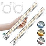 Luces LED con Sensor de Movimiento, 2 Piezas Luz Armario 160 LED con Tira Magnética, Recargable Luz LED Adhesiva, Luz para...