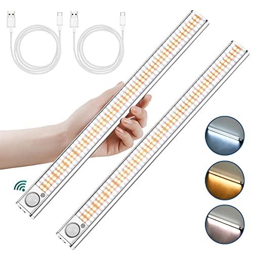 Luci LED Camera da Letto, 2 Pezzi 160 LED con Sensore di Movimento, 3 Colori Luce Notturna Ricaricabile con Striscia Magnetica Adesiva per Armadio / Scale / Cucina (#1)