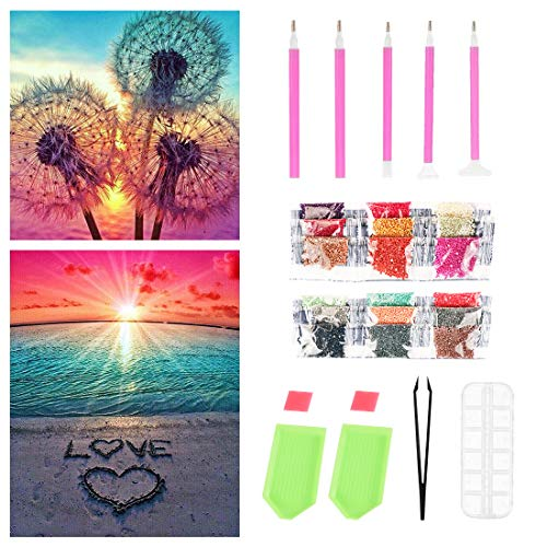 DIY 5D Diamante Pintura Kits, Amor de Playa y Diente de León Diamond Painting, DIY 5D Diamond Pintura por Número Kit, Completo Bordado Punto de Cruz Diamante Craft for Home Wall Decoration (Rosado)